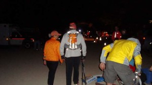 Leaving Twin Lakes (17:50; 9:50 PM Mile 60.5)